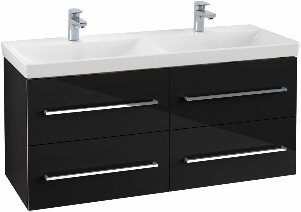 Set mobilier suspendat Villeroy & Boch Avento120cm,negru lucios